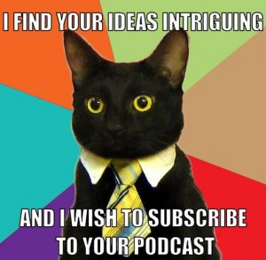 business cat podcasts meme