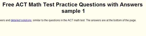 Analyze Math free ACT Practice Questions