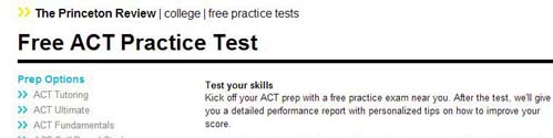 The princeton Review Free ACT Practice Test