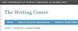 unc writing center essay exams Academic coaching home / services / learn techniques for handling multiple choice, essay and word-problem exams learning_center@uncedu sasb north.